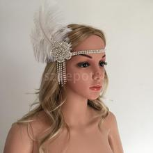 Rhinestone Flower Tassels Feather Headpiece Flapper Headband Charleston Wedding Party Fancy Dress Women Hair Accessory