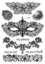 Waterproof Body Art tattoo sticker for women black mask bracelet wedding Jewelry lace crown Large arm tattoo wholesale LS-634(China)
