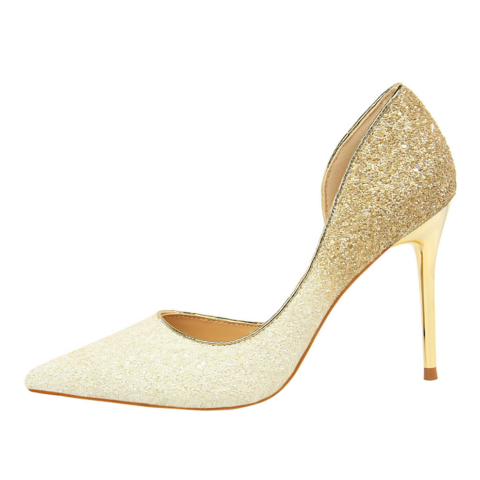 Shop cheap sale Gold Rose Glitter High Heels Sequins Stilletos Wedding Pumps