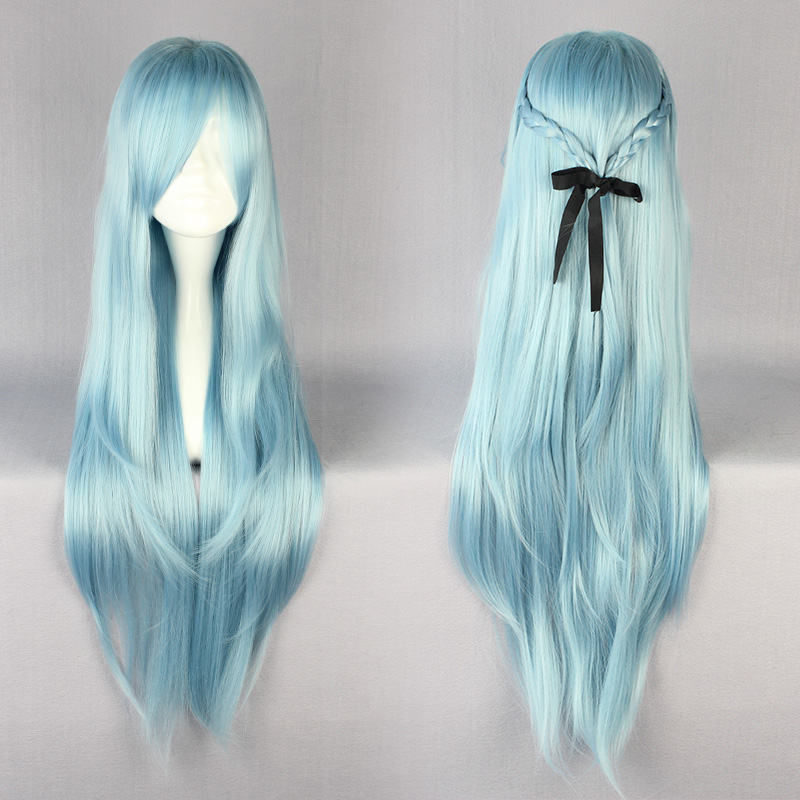 85cm Good Quality Long Staight Light Blue Cosplay Wigs with Bangs Womens Ladies Hair Wigs Costume Party  Halloween Blue Wigs<br><br>Aliexpress