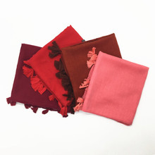 Hot sale ringes plain hijabs viscose women solid shawl wrap large head scarf islamic ladie tassels design soft scarves 100ps/lot(China)