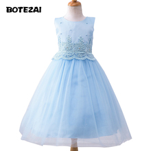 High Quality Girls Baby Birthday dress beading bowknot pearl girl dress 3-12years baby girl summer dress toddler princess dresse