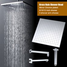 Quality square rain shower head brass polishing chrome head shower arm wall mounted & ceiling mounted size 8 10 12 inch choose