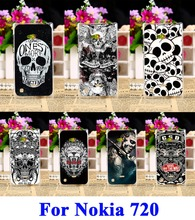 Hard Plastic Telephone Case Fit For Nokia Lumia 720 N720 N720T 929 Cover Black White Cool Skull Pattern Mobile Phone Accessories