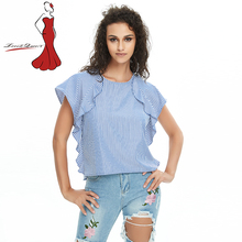 Deviz Queen New 2017 Ladies Loose Summer Ruffle Striped Blue Summer Fashion Tees Women's Tops Ladies T-shirts Women Clothing(China)