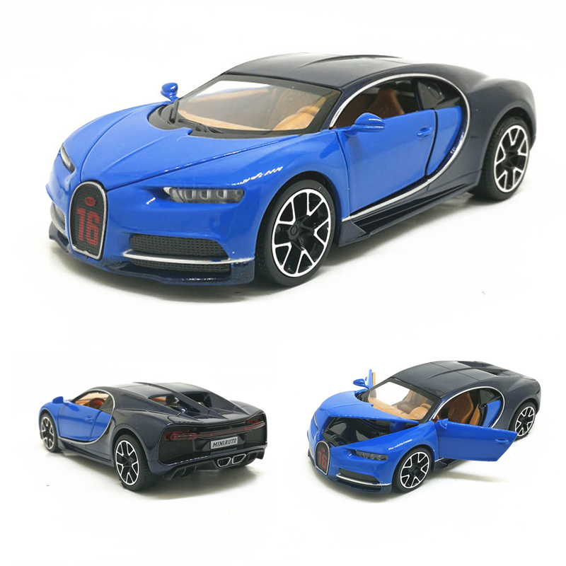 Bugatti Chiron Model Cars Alloy Diecasts Light Vehicles Toys Kids Xmas Gifts