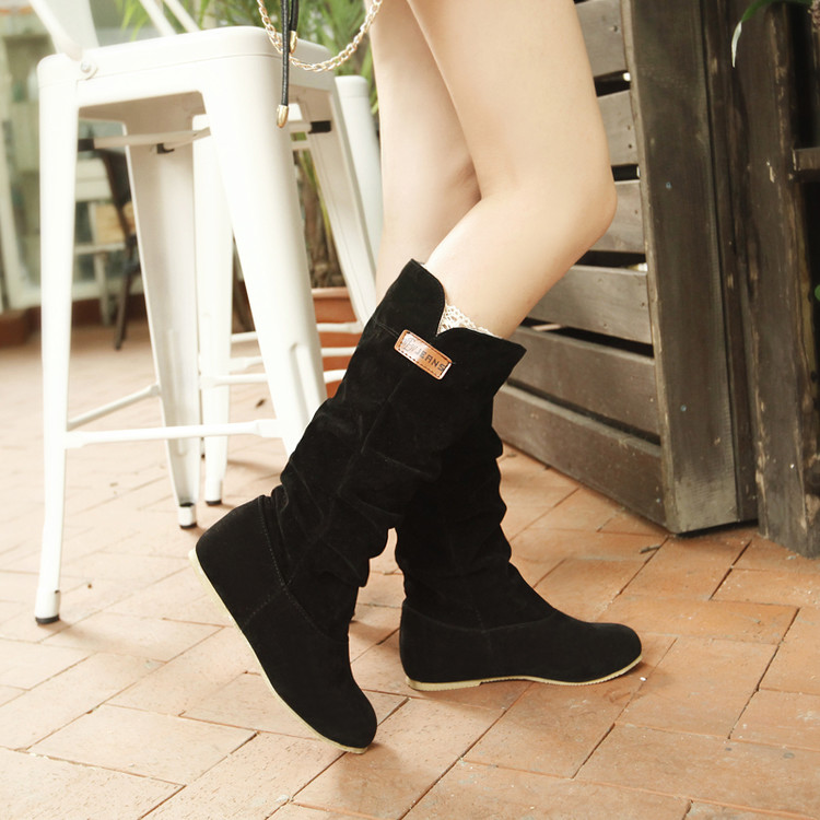 Big size 34-46 Autumn winter style high women woman femininas mid-calf  boots botas mujer chaussure femme  casual  shoes TD-662<br><br>Aliexpress