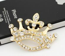 20pcs 45*37mm Gold Plated Clear Crystals Rhinestones Crown For Scrapbooking Craft Hair Clip iPhone Case Decoration(China)