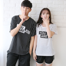 2017 Summer Couple Cotton Pajama Sets For Women Men Striped Lovely Cute Letters Shorts Pyjama Femme Suit Pijama Costumes