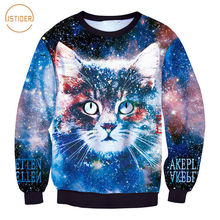 ISTider Fashion New Space Galaxy Sweatshirt Print Animal Cat Hoodies Women Men Winter Long Sleeve Thicken Casual Pullover Tops