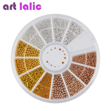 Artlalic 1 Wheet Tiny Steel Caviar Beads Mix Size 3D Design Manicure Jewelry Rose Gold Silver DIY Nail Art Decoration Wholesale(China)