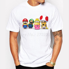 Asian Size fashion super mario minions men t-shirt short sleeve casual funny tee cute Minions cartoon printed hipster tops