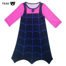 TEAEGG Little girls Vampirina Cartoon Vest Cosplay Dress New Year Gift Esla Party Costume for kids Nightgown Clothing 2-10Y(China)
