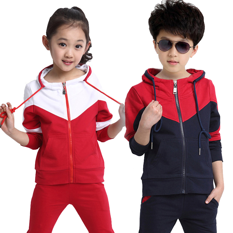 5-17 years Spring Kids Boys Clothes Big Children Clothing 2 Piece Sets Autumn Boy Long Sleeve Sportswear Girls Hooded Costume<br>