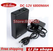 Portable Super Capacity Rechargeable Lithium-ion Battery Pack DC 12V 6800mAh EU/US plug for CCTV Cam Monitor Free Shipping(China)