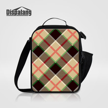 Dispalang Insulated Daily Lunch Bag Plaid Striped Print Portable Food Safe Small Container Kids Thermal Picnic Cooler Lunch Bags(China)