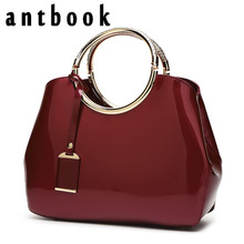 ANTBOOK High Quality Patent Leather Women Handbags Brand Designer Solid Tote Fashion Large Capacity Women Bags(China)