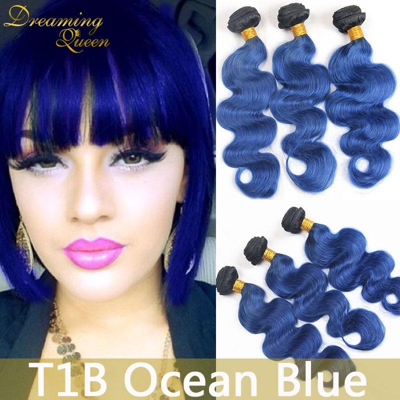 8A Mint 1B Blue Body Wave Hair Extensions Mongolian 3 Pcs 1B Ocean Blue Human Virgin Hair Weft Ombre Remy Human Hair Extenstions<br><br>Aliexpress