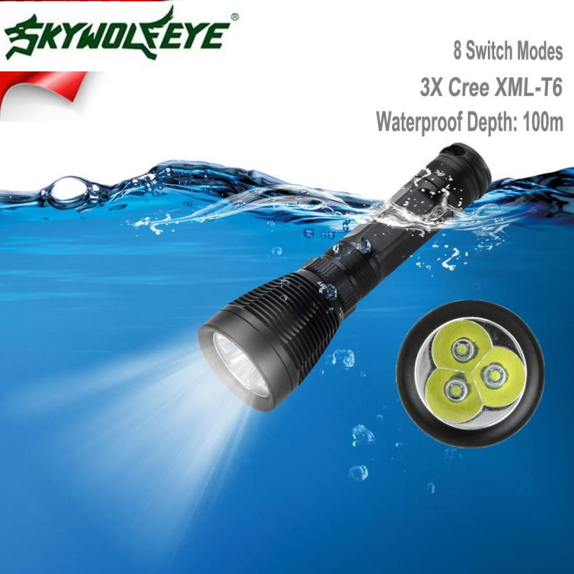 JA 10 Shining Hot Selling Fast Shipping Outdoor 8000LM 3x XML-T6 LED Scuba Diving Underwater 100M Flashlight Torch Waterproof<br>
