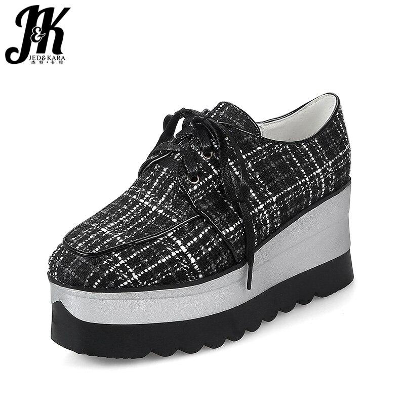 JK 2018 Brand Designer Women Flats Square Toe Plaid Lace Up Stitching Footwear Spring Fashion Casual Ladies Platform Ladies Shoe<br>