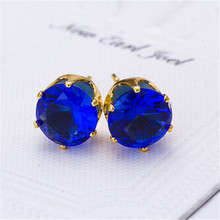 2017 new design  gold plated Imitation Zircon stud earrings 10 color Statement earring for Girls gift