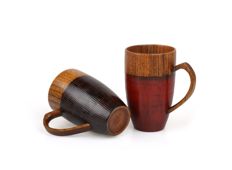 Set of 2 Natural Wood Cups Mugs with Handle Wooden Couples Mugs Coffee TeaMilkJuiceWater Mugs Drinkware Handcraft Wood Gifts (4)