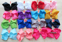 "15 colors 15pcs/lot 8"" Grosgrain Ribbon Hair Bows Clips,kid  Boutique HairBows french barrette Clip,Girl Hair Accessories C"