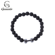 1Pc Fashion Fit Life Black Matte Stone Dumbbell Bracelet Fitness Motivation Gym New Jewelry Gifts For Friends and Lover(China)