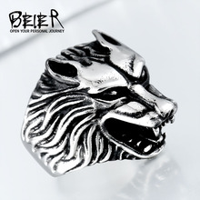 BEIER 2017 Dropshipping Cool Wolf Ring Stainless Steel Man Punk Biker Ring BR8-075 US Size