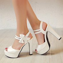 2017 Summer Ivory White High heels sandals fashion sexy peep toe platform sandals woman bow-knot party shoes wedges sandals high(China)