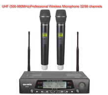 Free Shipping Fastest delivery New OK-92 High Quality Hot Sales Wireless 5H Dual handheld mic 32/96 UHF/PLL Wireless Microphone(China)