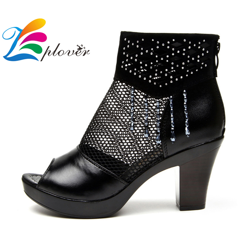 Zplover Women Shoes Summer 2017 Fashion Ladies High Heels Shoes Fish Mouth Sandals Femme Black PU And Mesh Women Shoes <br><br>Aliexpress