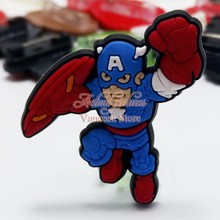 1pcs Single Avengers super man Hulk decoration PVC Pins badges brooches collection DIY charms fit Clothes Bags shoes kids gift