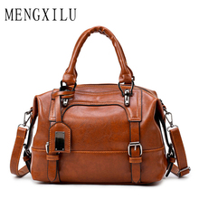 Buy MENGXILU Leather Bags Women Handbags Large Captain Boston Ladies Casual Tote Bags Handbags Women Famous Brand bolsa feminina for $18.54 in AliExpress store