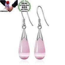 OMHXZJ Wholesale Fashion jewelry Girl woman man Men Red agate Drops water Opal cat's eye 925 sterling silver Stud earrings YS08(China)