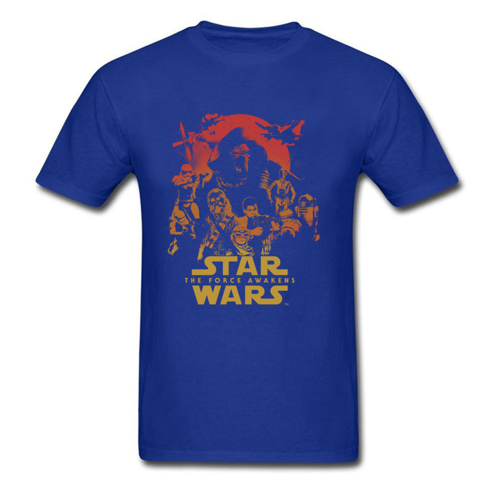 Force Awakens Poster Thanksgiving Day Pure Coon Crew Neck Tops Shirts Fashionable Tops Shirt New Coming T-shirts Force Awakens Poster blue