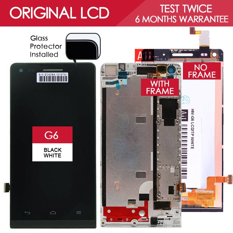 100% Tested Original 4.5 inch TFT (IPS) Screen For HUAWEI Ascend G6 LCD  Displaywith Touch Screen Digitizer Assembly with Frame<br><br>Aliexpress