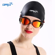 New COPOZZ Flexible Silicone Waterproof Swimming Cap Swimwear/hat Cover Ear Swim for Men women Unisex Adult long short hair(China)
