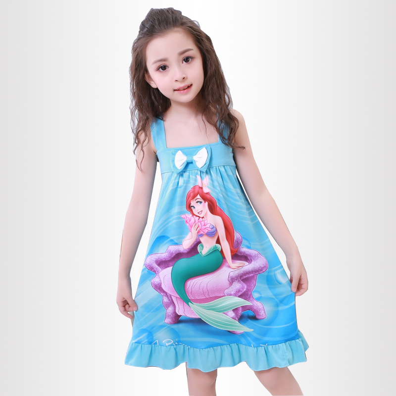 Kids Party Princess Nightgown New Listing 2018 Children Clothing Summer Dresses Girls Baby Cotton Girl Sling Bow Sleepwear