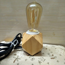 Nordic modern Creative wooden table light,Diamond shape solid wood base E27 mini desk lamp for home decoration lighting fixture(China)