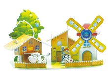 3D Wood Puzzle DIY Model Kids Toy Cartoon Cute Farm windmill House with Dog Cows  Puzzle,puzzle 3d building,wooden puzzles