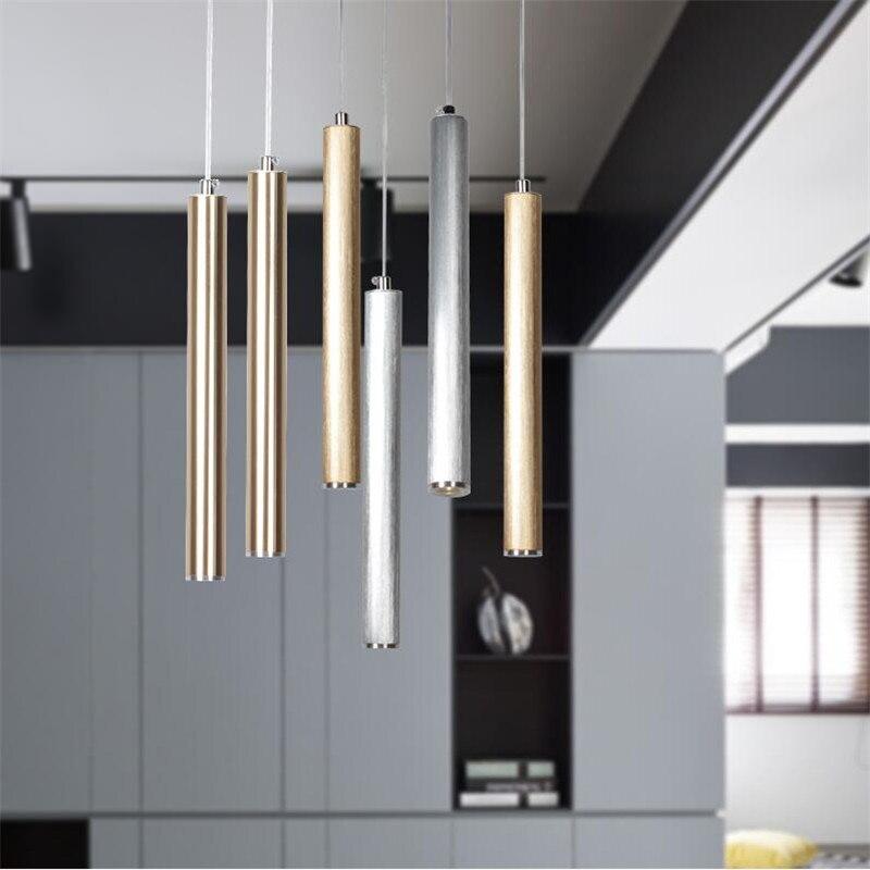 Modern Brushed Gold/Silver Aluminum Column Led 3W Pendant Light for Dining Room Living Room Bar Bedside Deco Drop Light 1477<br>