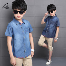 FYH Boys Clothing Summer Boys Short Sleeve Shirt Kids Cotton Shirts Boys Blouses Casual School Boy Cowboy Shirt Turn-down Collar(China)