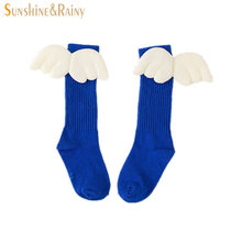 Ins*Baby Socks Angel Wings Design Piled Socks For Girls Knee High Infant Kids Long Socks Children's Foot Wear Knitted(China)