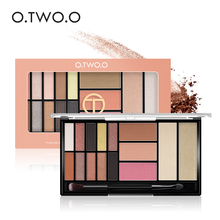 O.TWO.O New Palette Eyeshadow Highlighter Glitter Blush Contour Palette 15 Shades With Brush(China)