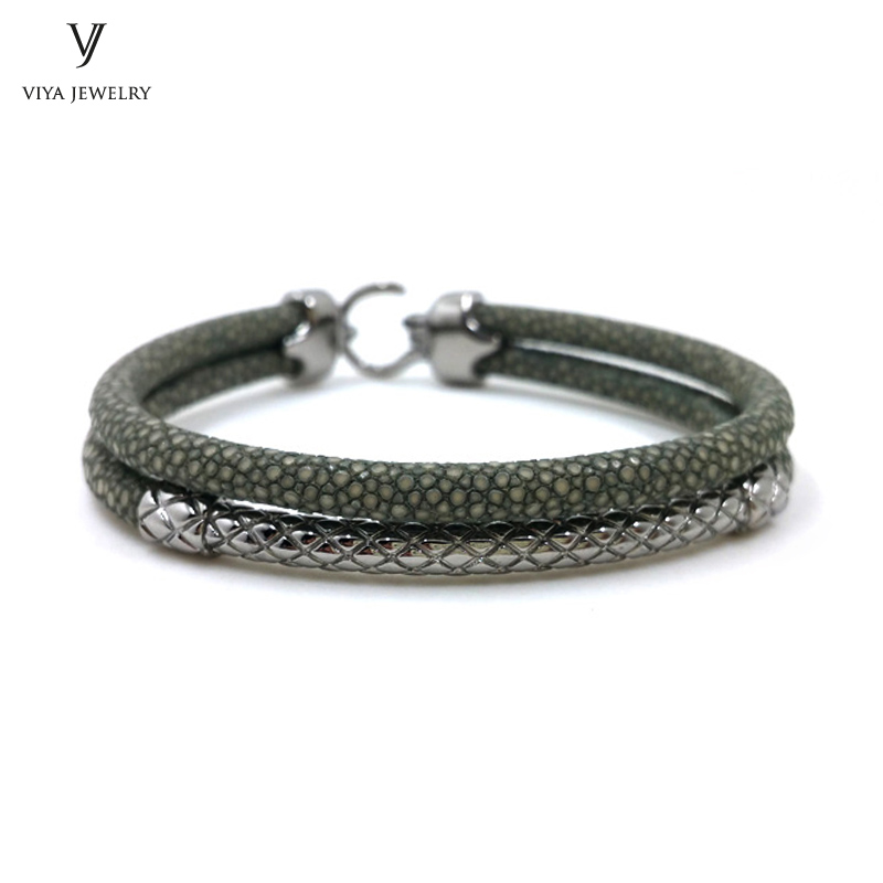 Handcrafted Luxury Custom Stingray Silver Bracelets Two hand-wrapped Stingray leather cords Men Bracelet With Pure Silver Clasp-VSST-03 (12)
