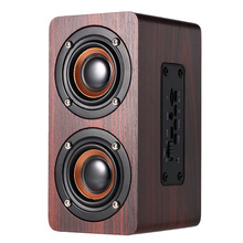 W5 Altavoz Bluetooth madera de grano rojo BT 4,2 Dual altavoces Super Bass Subwoofer manos libres con micrófono 3,5mm AUX-IN TF(China)
