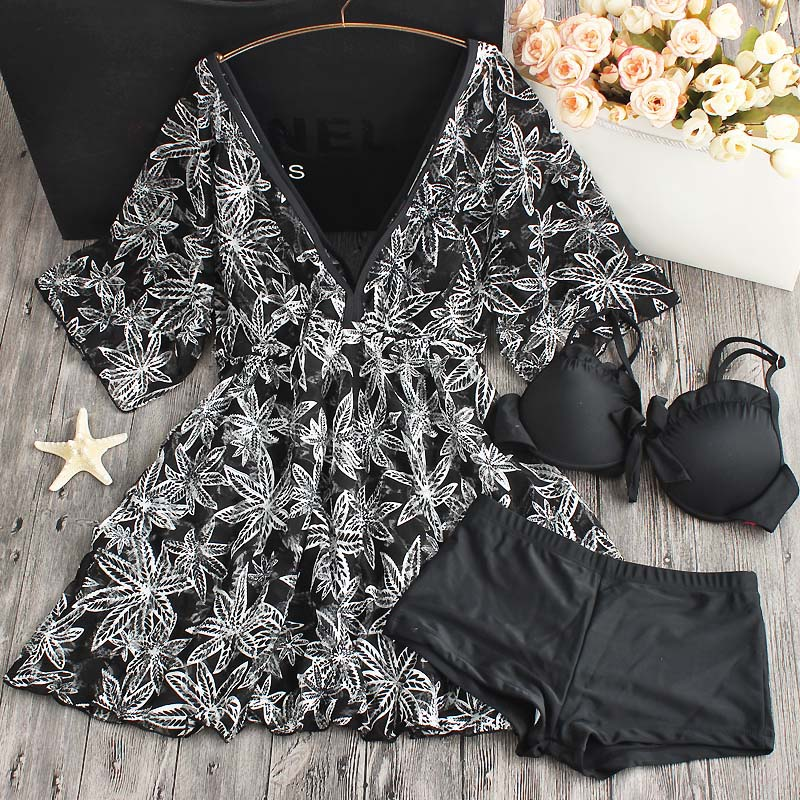 New Sexy Black Swimwear Women Dress Swimsuit 2018 Brazilian Bikini Beach Wear Bathing Suit Push Up Bikini Set Femme Skirt<br>