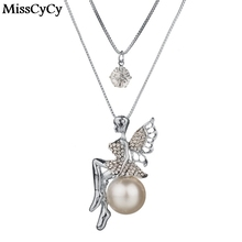MissCyCy Pearl Jewelry 2016 New Arrival Crystal Angel Pendant Necklace Women Plated Silver Double Layer Chain Necklace