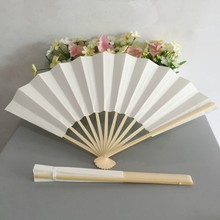 Free shipping 50pcs/lot Japanese style 27cm white paper folding fan holiday gift hand fan can DIY your logo